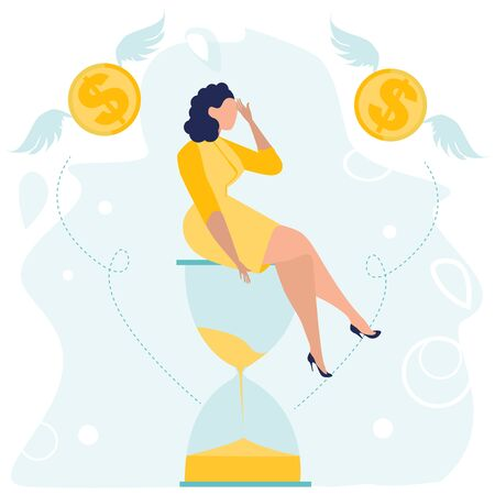 Depressed Businesswoman with a headache sitting on the hourglass. Money problem and financial trouble. Economic Crisis, Business Bankruptcy. Unpaid Loan Debt. Vector illustration in a flat style.