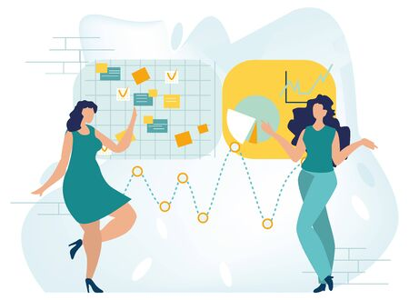 Multitasking, productivity and time management concept. Flat businesswoman presenting new project. Woman showing graphs and pie charts. Business concept. Vector illustration in a flat cartoon style.