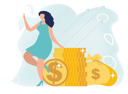 Earning, saving and investing money concept. Successful woman with stack of coins and money bag. Successful investor or entrepreneur. Financial consulting. Flat vector illustration.
