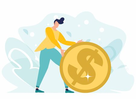 Businessman pushing gold dollar coin. Financial success. Earning, saving and investing money concept. Financial Secure, profit, salary wealth. Vector illustration in a flat cartoon style.