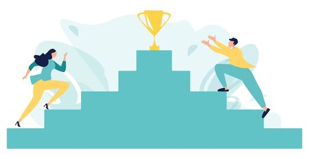 Business People or Sportsmen Climbing Stairs with Golden Goblet on Top. Business competition. Goal Achievement, Success, Leadership. Career planning. Business concept. Vector illustration, flat style.