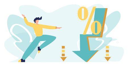 Ilustración de vector de gran venta con carácter. Porcentaje de flecha hacia abajo, porcentaje de caída. Rápida disminución y crisis. Concepto de negocio e inflación, estilo de dibujos animados plana.