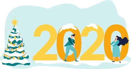 Workers celebrate Christmas and New Year. Small people are preparing for the new year, engaged in decoration. Inscription New Year 2020. Vector illustration in a flat cartoon style.