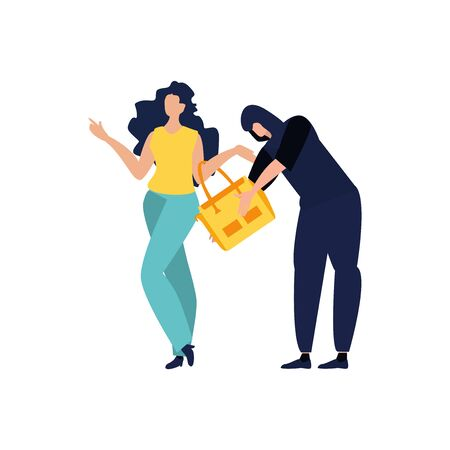 Thief, pickpocket or rubber dressed in hoodie stealing woman's bag. Bad guy. Criminal committing crime and victim. Robbery or theft scene. Vector illustration in a Flat cartoon style.