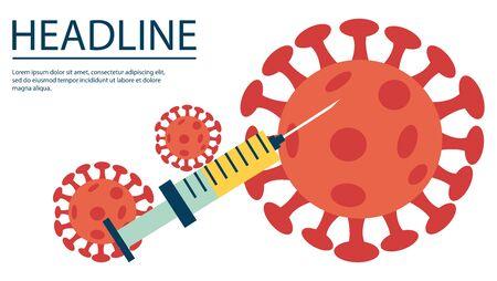 Covid-19. Sars disease, coronaviruses. The coronavirus causes the severe illness SARS. Big syringe. Vector illustration in a flat cartoon style. Illustration