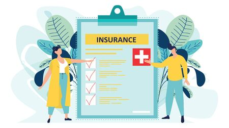 Health insurance concept. Big clipboard with document on it. Healthcare, finance and medical service. Isolated flat vector illustration in cartoon style.