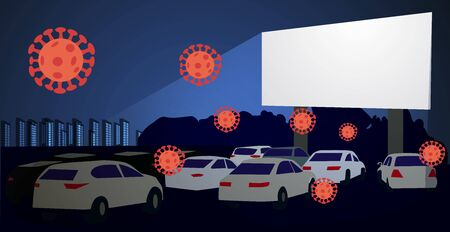 Covid 19. Movie theater for cars. Open-air cinema. Safe leisure during the coronavirus epidemic. Vector