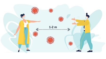 Social distancing, keep distance in public society people to protect from COVID-19 coronavirus outbreak spreading concept, man and woman keep distance away in the meeting with virus pathogens. Vector.  イラスト・ベクター素材