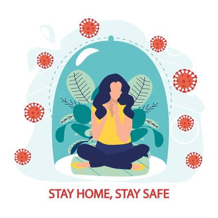 Coronavirus outbreak vector concept. A girl sits in a meditation pose under a glass cap. Covid-19 virus in air. Staying home with self quarantine. Fear of getting sick. Flat vector illustration.  イラスト・ベクター素材