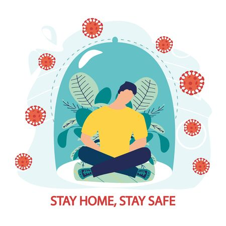 Coronavirus outbreak vector concept. A man sits in a meditation pose under a glass cap. Covid-19 virus in air. Staying home with self quarantine. Fear of getting sick. Flat vector illustration.  イラスト・ベクター素材