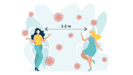 Social distancing example for greeting to avoid spreading corona virus. Keep distance in public society people to protect from COVID-19 coronavirus outbreak spreading concept. Flat vector.   イラスト・ベクター素材