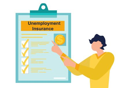 Unemployment insurance benefits in the coronavirus stimulus package. File a claim for Unemployment Insurance. Business man is looking on document on a clipboard paper. Flat Vector illustration.