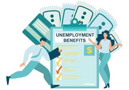 Beneficios por desempleo del seguro de coronavirus. Presente una reclamación de seguro de desempleo. El hombre y la mujer de negocios buscan el documento en un papel de portapapeles. COVID-19. Ilustración de Vector plano.