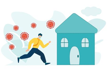 Social Distancing, stay home in COVID-19 coronavirus outbreak, stay in the house to prevent virus infection, man or businessman stay calm running to lovely safe home with virus pathogens outside.