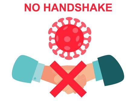 No handshake. Business hands Vector illustration. Covid-19. The most transmission of virus or bacteria from hand touch. Corona virus Concept health safety protection coronavirus epidemic 2019 nCoV.
