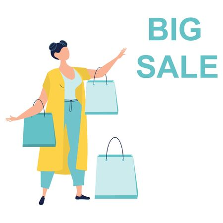 Big sale. Discount. Trendy woman carry shopping bags isolated on white. Colorful female shopaholic holding purchases. Happy lady with packages. Flat cartoon vector illustration.  イラスト・ベクター素材