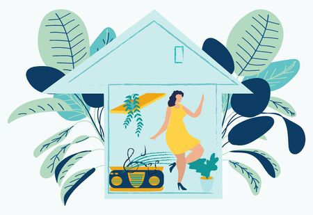 Coronavirus outbreak. Women at home listening to music, dancing and singing in period of self isolation and social distancing during covid virus epidemic. Stay at home stay safe. Flat vector design. Ilustração