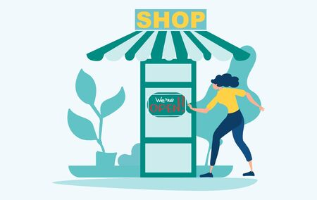 COVID 19. We are open. Woman opens a shop after quarantine, lockdown. Economic recovery after coronavirus. Flat vector illustration in a cartoon style.