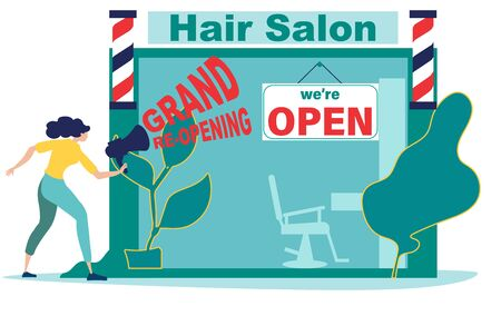 COVID 19. We're open. Grand re-opening. Woman or hairdresser opens a hair salon after quarantine, lockdown. Economic recovery after coronavirus. Hair Salons, Barbershops Could Reopen. Flat vector.