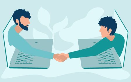 Handshake. Two businessmen talk through laptop screens and shake hands. Collaboration and communication, corporate and cooperative business concept. Flat style vector. Иллюстрация
