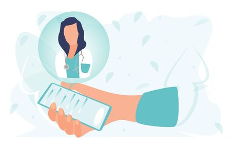 Doctor. Online medical clinic communication with patient. The medical mobile app concept. Ask doctor. Chat in messenger. Online medical advice or consultation service. Flat vector illustration.