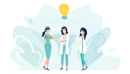 Concilium professional doctor group consultation. Teamwork, brainstorming, collective creative thoughts. Medical concept. Light bulb. Flat vector illustration.   イラスト・ベクター素材