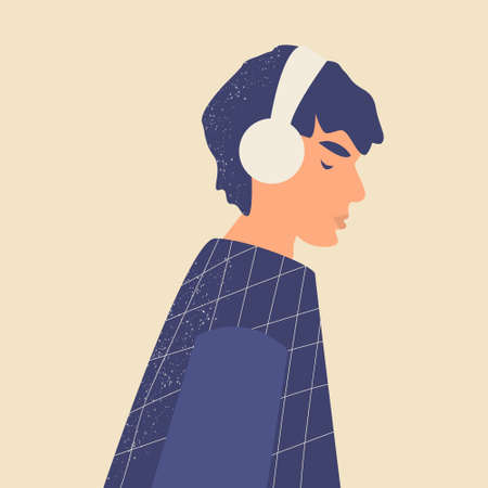 Cute male teenager. Handsome young Man or boy in headphones listen to music, radio, online training or podcasts and enjoy sound. Music therapy. Trendy colors. Hand drawn vector illustration.