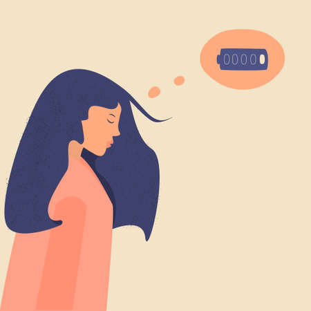 Sad tired Asian woman with a discharged battery in the thoughts. Depressed unhappy female in depression, sorrow, sadness. Fatigued girl is in emotional burnout or mental disorder. Battery low metaphor
