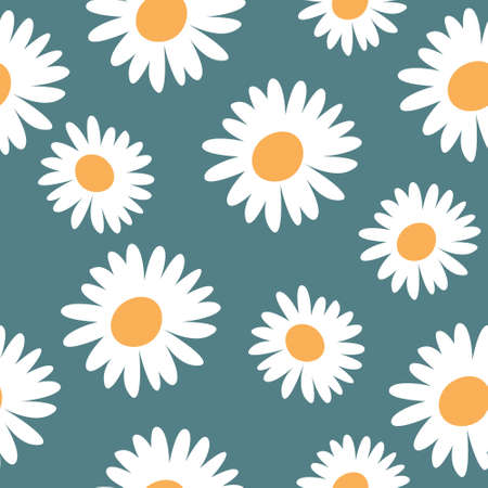 Abstract floral seamless patterns with cute chamomile on a blue pastel background pattern. Hand drawn vector illustration for wrapping paper, textile print, cover and fabric. 向量圖像
