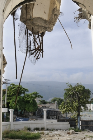 carnage: PORT-AU-PRINCE - AUGUST 22: Outside view of a collapsed church in Port-Au-Prince, Haiti on August 22, 2010. Editorial