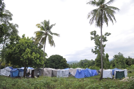 tent city: LEOGANE - AUGUST 27: A small tent city at one of the remote places in Haiti, August 27, 2010 in Leogane, Haiti