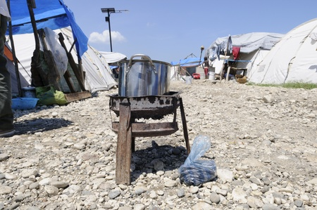 PORT-AU-PRINCE - AUGUST 28: A cooking stove outside the tents in Port-Au-Prince, Haiti on August 28, 2010.