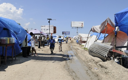 tent city: PORT-AU-PRINCE - AUGUST 28: A tent city in Port-Au-Prince, Haiti on August 28, 2010.