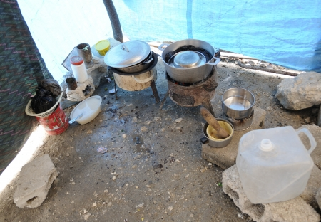 PORT-AU-PRINCE - AUGUST 28: A kitchen inside a tent , in Port-Au-Prince, Haiti on August 28, 2010.