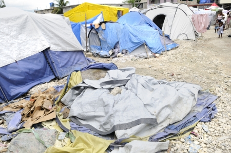 PORT-AU-PRINCE - AUGUST 28: A tent belonging to a family of four was destroyed due to rainfall and wind, in Port-Au-Prince, Haiti on August 28, 2010.