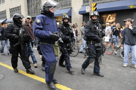 TORONTO-JUNE 26: Riot police marching the streets during the G20 Protest on June 26, 2010 in Toronto, Canada. Stock Photo - 20264023