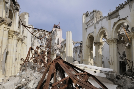 A collapsed church in Port-Au-Prince, Haiti Stock Photo