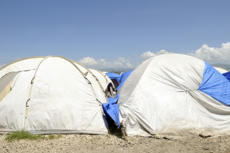 tent city: Tents in a tent city in Haiti  Stock Photo