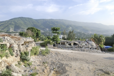flattened: A flattened area which used to be an University before in Haiti  Stock Photo