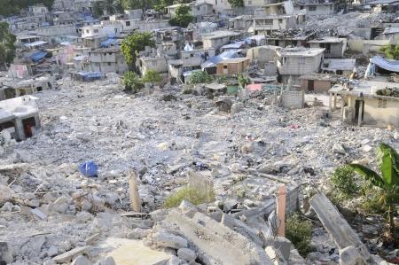 ハイチでは地震後ガレキ 写真素材