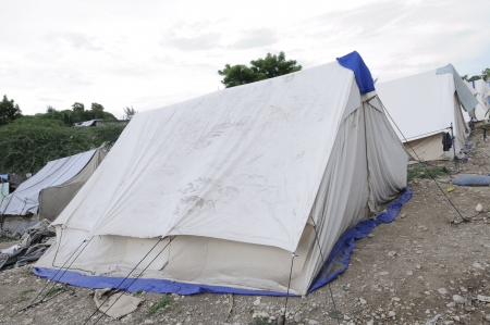 displaced: Tents for the refugees in Haiti  Stock Photo