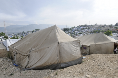 Tents for the refugees in Haiti  Stock Photo
