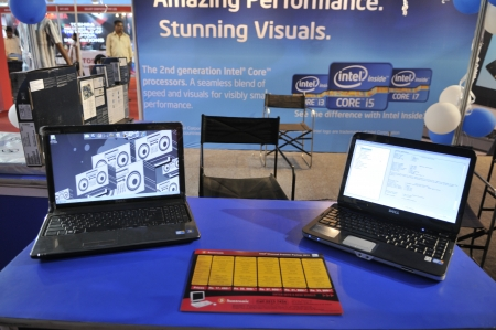 KOLKATA- FEBRUARY 20: Laptops at display at an Intel Processor booth, during the Information and Communication Technology (ICT) conference and exhibition in Kolkata, India on February 20, 2011.