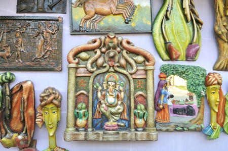 KOLKATA - FEBRUARY 23: An abstract gallery of different sculptures on display during the Handicraft Fair in Kolkata-the biggest of its kind in Asia on February 23, 2011 in Kolkata, India.