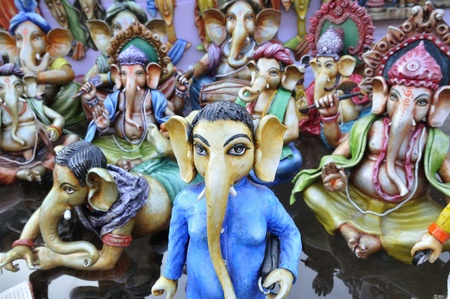 KOLKATA - FEBRUARY 23: A series of Lord Ganesha sculptures on display during the Asia\\\\