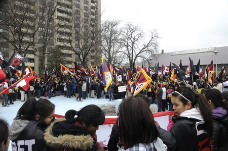 TORONTO - MARCH 10: Tibetans in Canada gathered before marching in a rally organized to protest against the Chinese occupation of Tibet on March 10 2009 in Toronto, Canada.