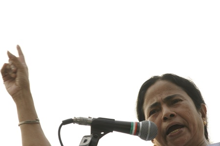 KOLKATA - FEBRUARY 20: Indian Railways minister Ms. Mamata Banerjee pointing towards the audience while giving her speech during a political rally in Kolkata, India on February 20, 2011.
