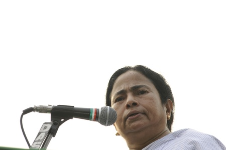 KOLKATA - FEBRUARY 20: Indian Railways minister Ms. Mamata Banerjee speaking during a political rally in Kolkata, India on February 20, 2011.