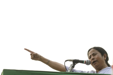 rally finger: KOLKATA - FEBRUARY 20: Indian Railways minister and supremo of All India Trinamool Congress Ms. Mamata Banerjee speaking during a political rally in Kolkata, India on February 20, 2011.