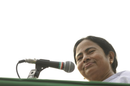 KOLKATA - FEBRUARY 20: Indian Railways minister Ms. Mamata Banerjee sharing a smile during a political rally in Kolkata, India on February 20, 2011. Editorial
